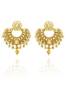 Golden Colored Off White Beads Chaand Bali Earring