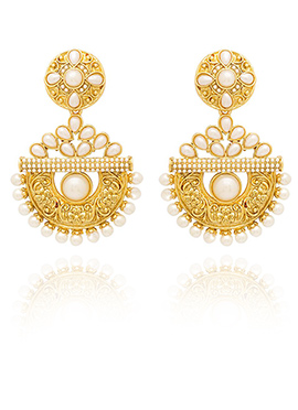 Golden Colored Off White Beads Dangler Earring