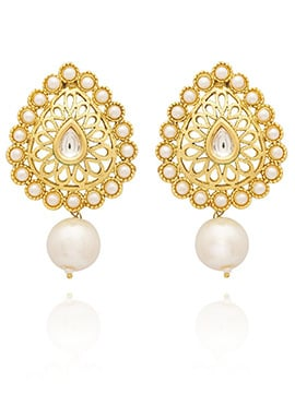 Golden Colored Off White Beads Drop Earring