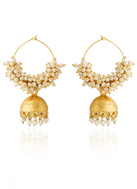 Golden Colored Off White Beads Hoop Earring
