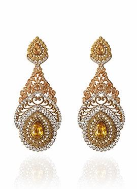 Golden Colored Peach Crystal Dangler Earring