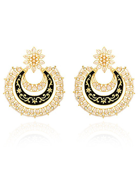 Golden Colored Peach Stone Chaand Bali Earring