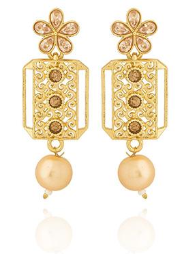 Golden colored Peach Stone Dangler Earring