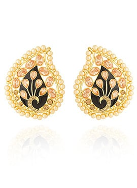 Golden Colored Peach Stone Stud Earring