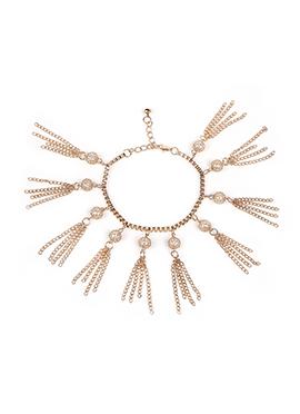 Golden Colored Pearl Embellished Bracelet
