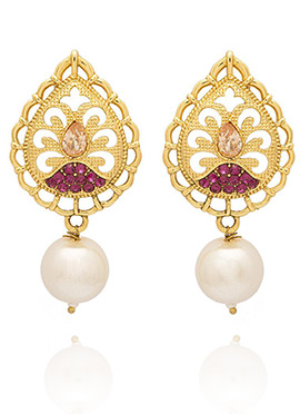 Golden Colored Pink Drop Earring