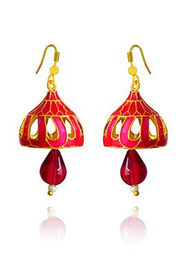 Golden Colored Pink Meenakari Jhumka Earring