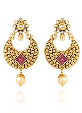 Golden Colored Pink Stone Chaand Bali Earring