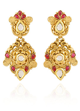 Golden Colored Pink Stone Dangler Earring