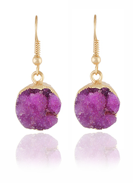 Golden Colored Pink Stone Hooks Earring