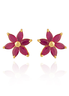 Golden Colored Pink Stones Stud Earring