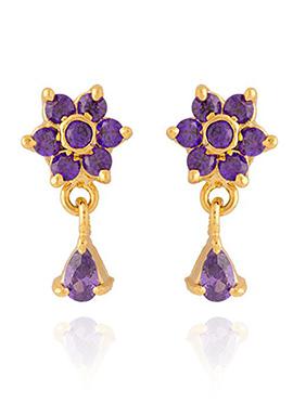 Golden Colored Purple Stones Drop Earring