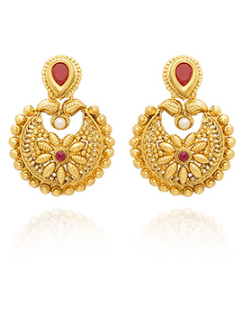 Golden Colored Red Stone Chaand Bali Earring