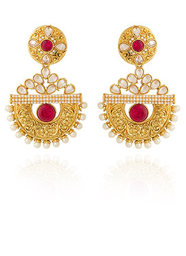 Golden Colored Red Stone Dangler Earring