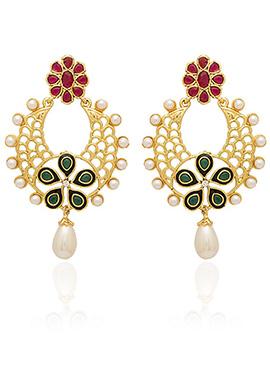 Golden Colored Red Stone Dangler Earring