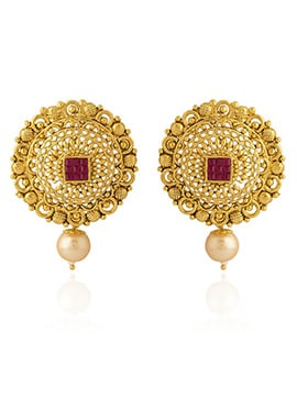Golden Colored Red Stone Drop Earring
