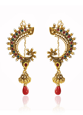 Golden Colored Red Stone Jhumka Earring
