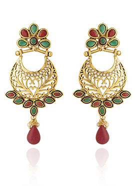 Golden Colored Red Stones Chaand Bali Earring