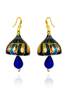 Golden Colored Royal Blue Meenakari Jhumka Earring