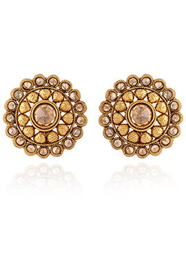 Golden Colored Stone Stud Earring