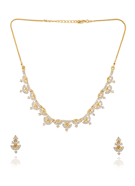 Golden Colored Stone Studded Necklace Set