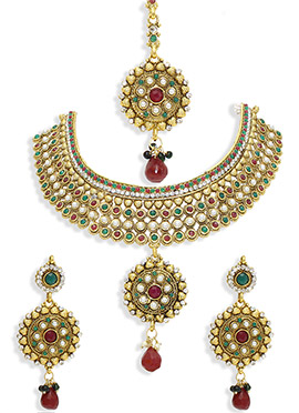 Golden Colored Stones N Moti Ornate Necklace