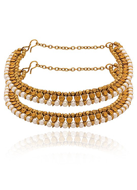 Golden Colored White Beads Anklet