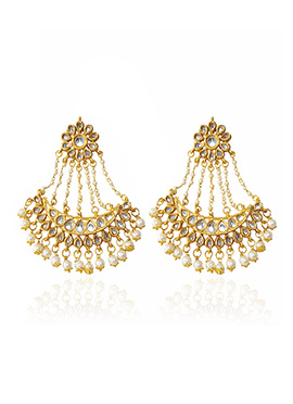 Golden Colored White Beads Chandeliers Earring