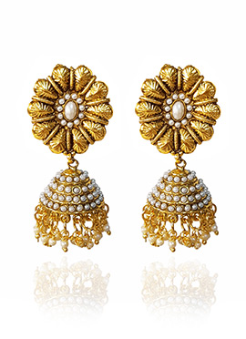 Golden Colored White Beads Jhumka Earring