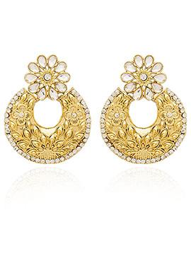 Golden Colored White Kundan Chaand Bali Earring