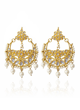 Golden Colored White Kundan Chaand Bali Earring