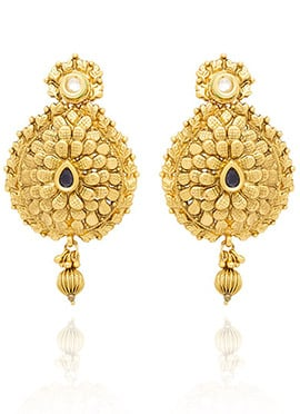 Golden Colored White Kundan Dangler Earring