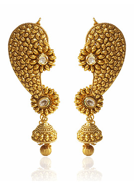 Golden Colored White Kundan Ear Cuffs Earring