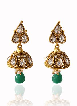 Golden Colored White Kundan Jhumka Earring
