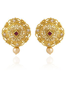 Golden Colored White N Red Stone Drop Earring