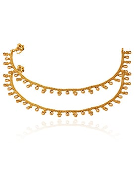 Golden Colored White Stone Anklet