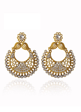 Golden Colored White Stone Chaand Bali Earring