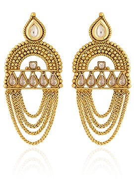 Golden Colored White Stone Chandeliers Earring