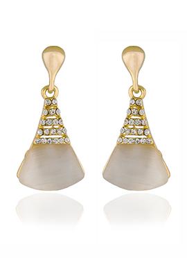 Golden Colored White Stone Dangler Earring