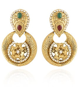 Golden Colored White Stone Dangler Earring