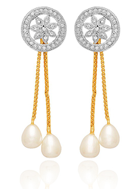 Golden Colored White Stone Drop Earring