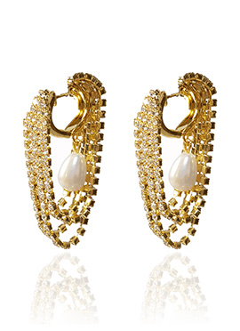 Golden Colored White Stone Hoop Earring
