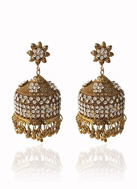 Golden Colored White Stone Jhumka Earring