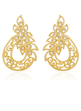 Golden Colored White Stone Stud Earring