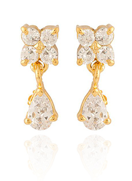 Golden Colored White Stones Drop Earring