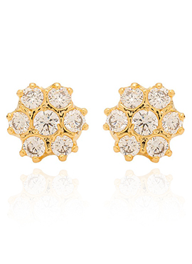 Golden Colored White Stones Stud Earring