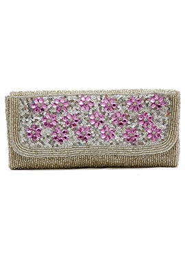 Silver N Purple Embellished Stylish Clutch