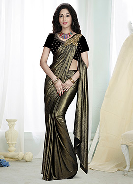 Golden Georgette Butterfly Pallu Saree