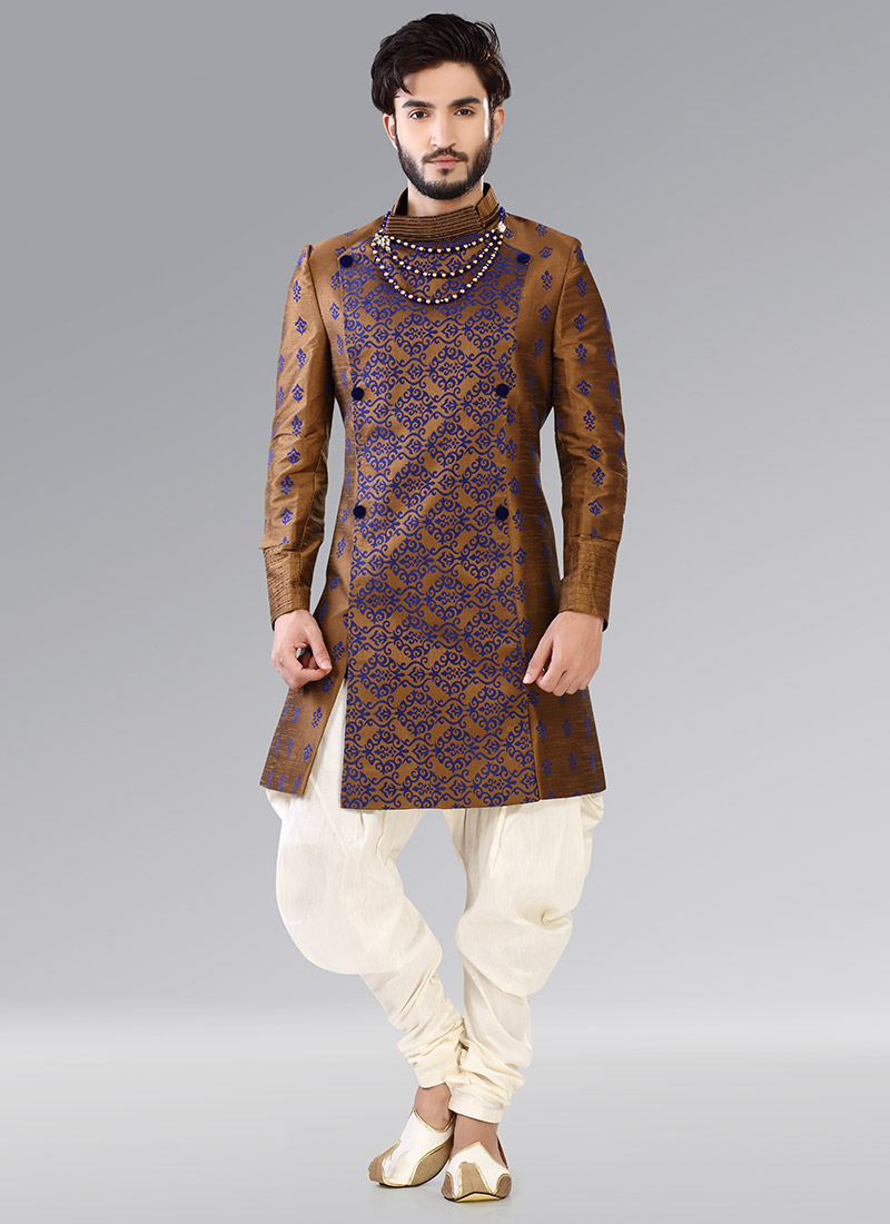 buy golden indowestern patiala style sherwani benarasi