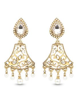 Golden Kundan N Beads Dangler Earrings